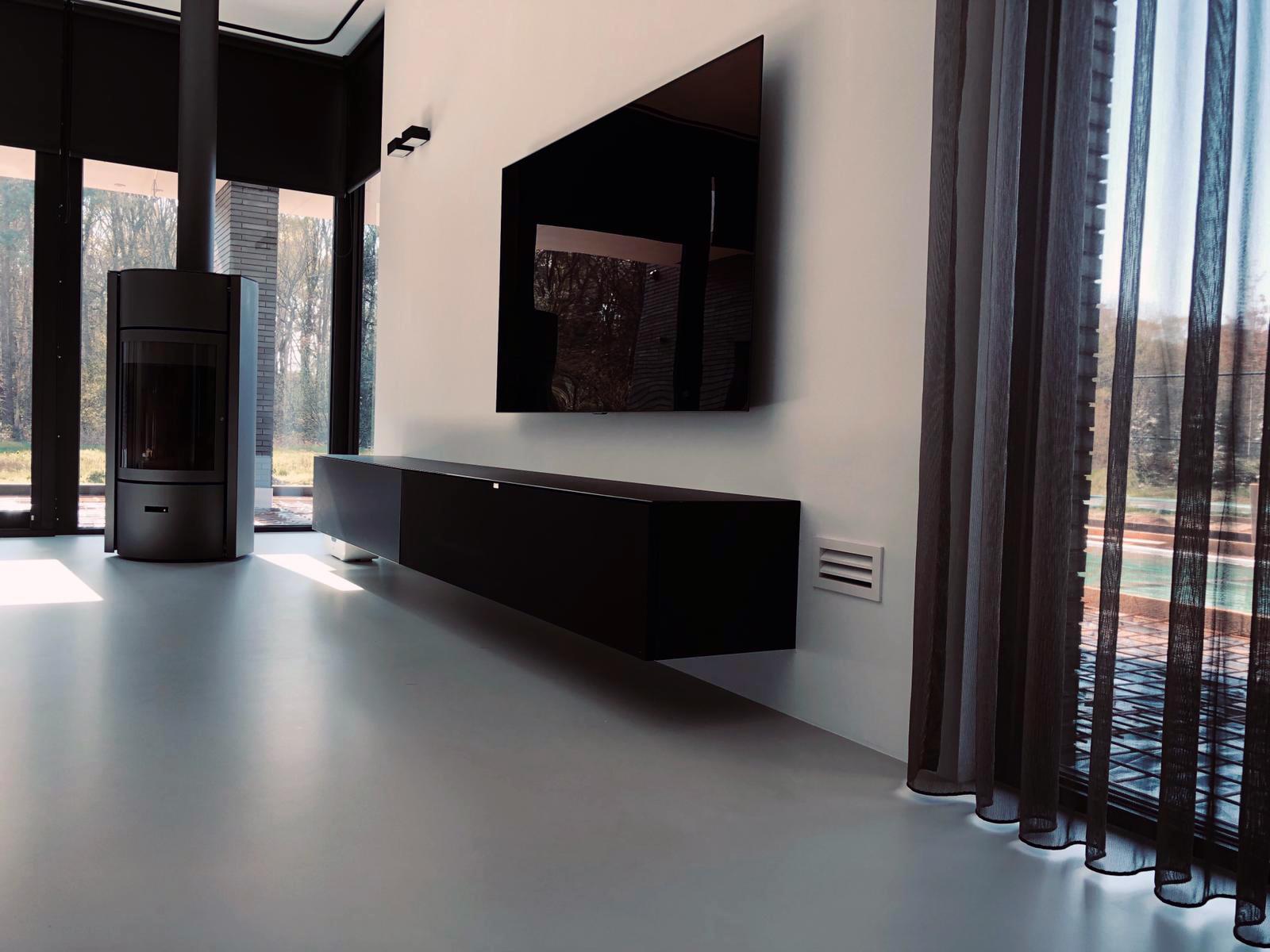 Zwevend Hoogglans Zwart Tv Meubel Flame 1 Lowboard Tv Kast.Spectral Home Next Tv Meubels Spectral Nl
