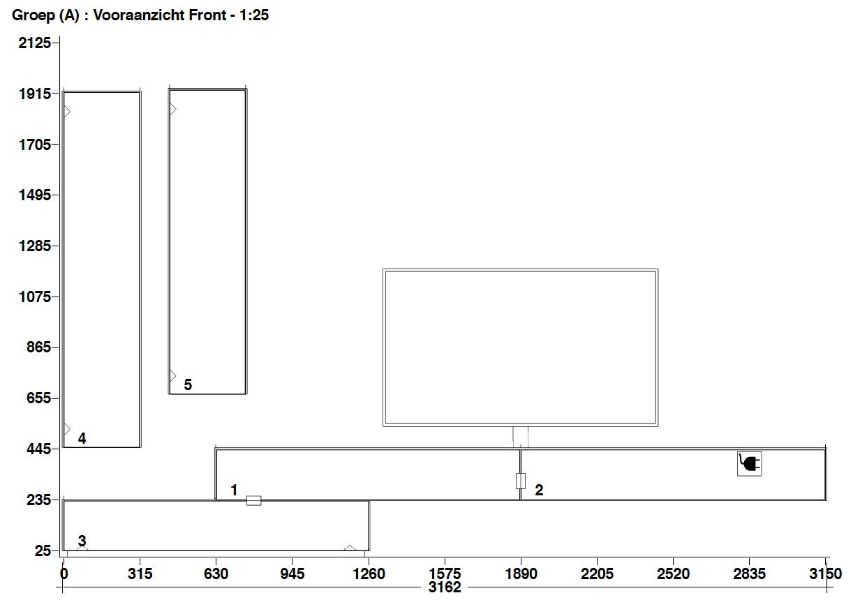 Tv-wandmeubel 3.62m incl. VRA1 soundsysteem