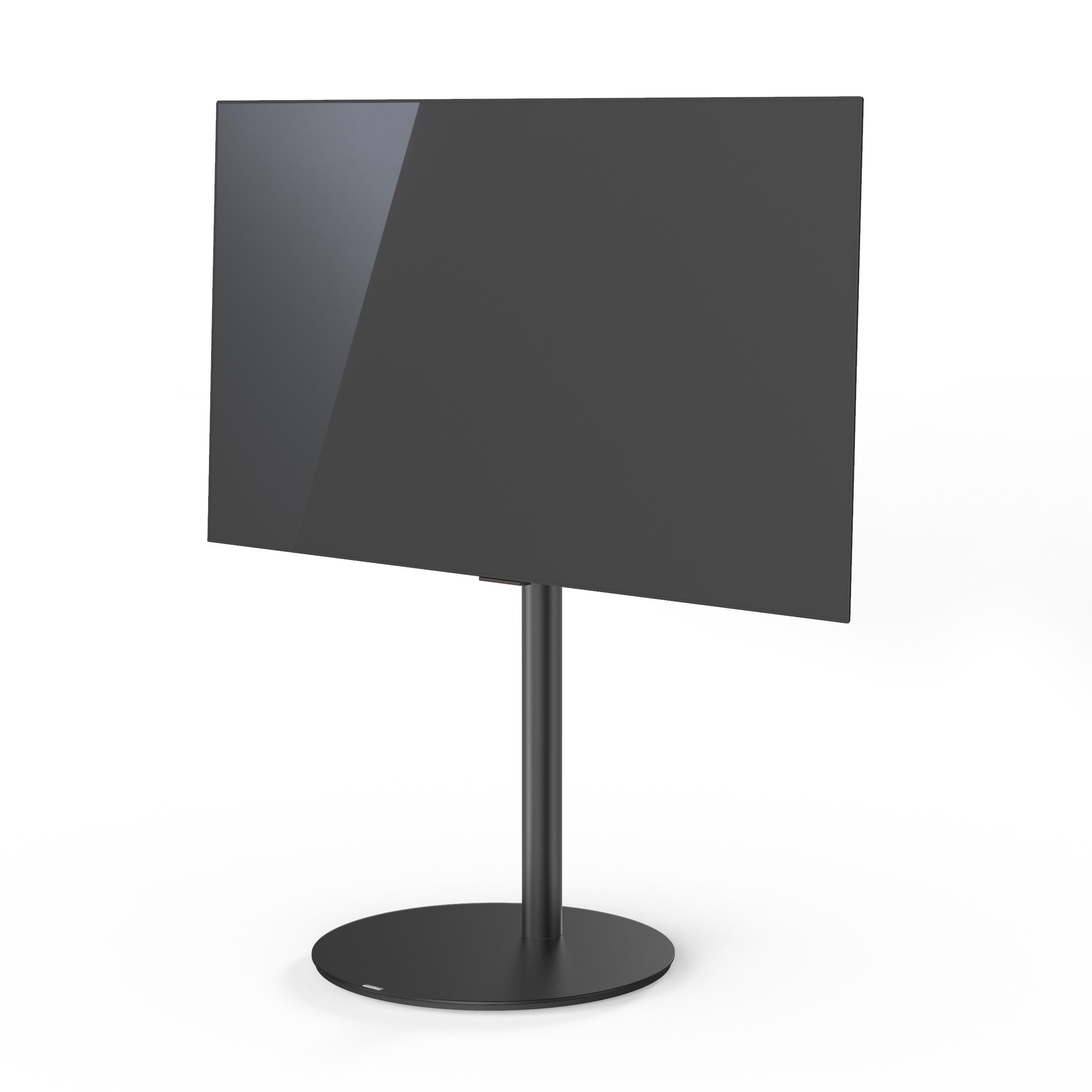 VX1000 draaibare tv-standaard, zwart glas, zwarte buis