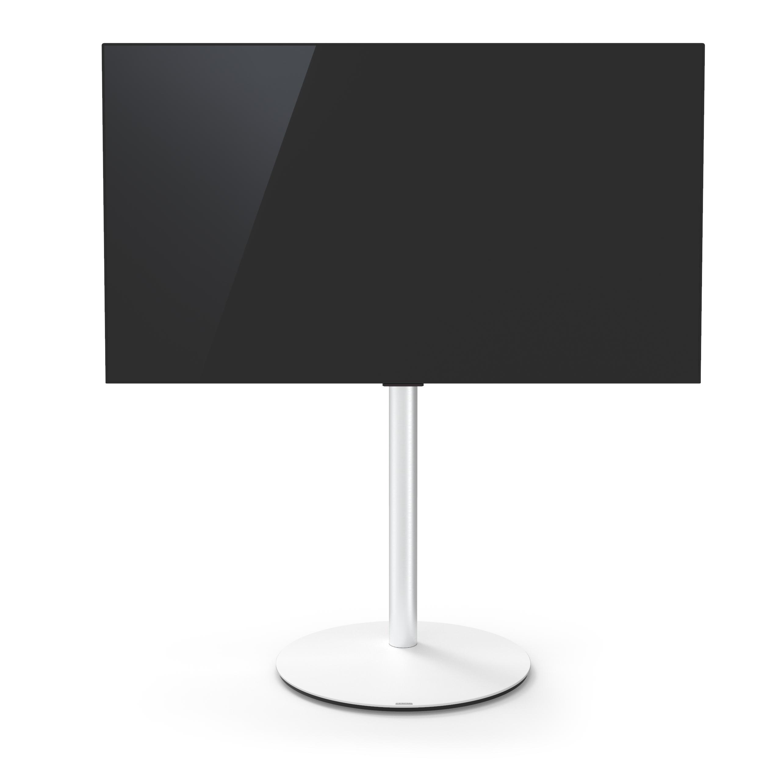 VX1000 draaibare tv-standaard, wit glas, aluminium buis