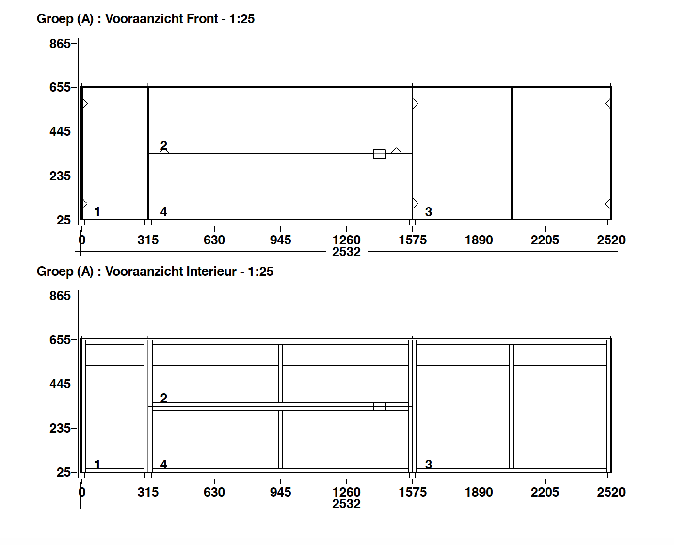 Spectral wandmeubel 2.52m