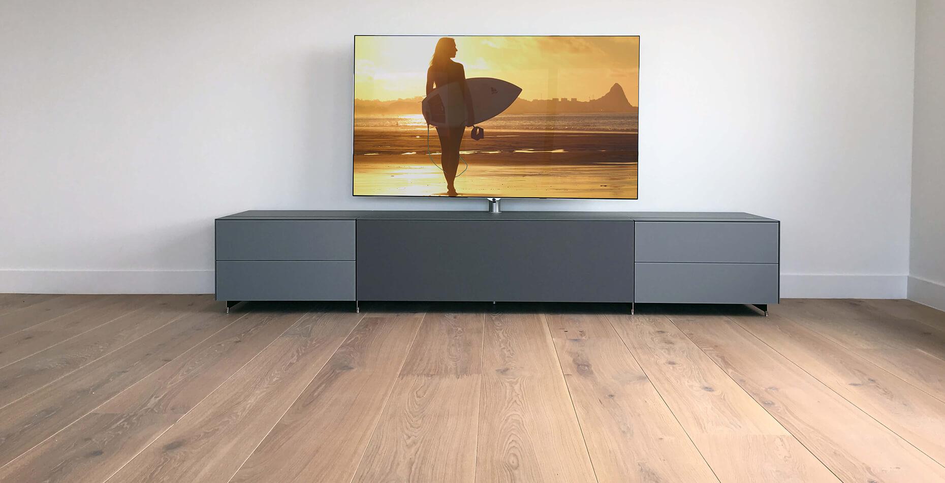 staand tv meubel cocoon 2.60m cement