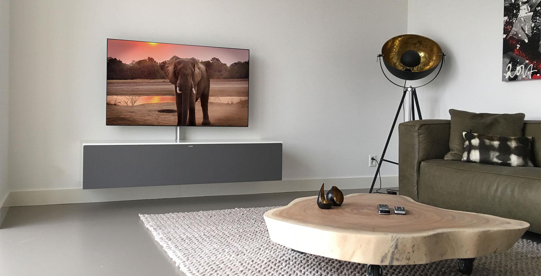 zwevend tv meubel hoogglans wit Spectral Next