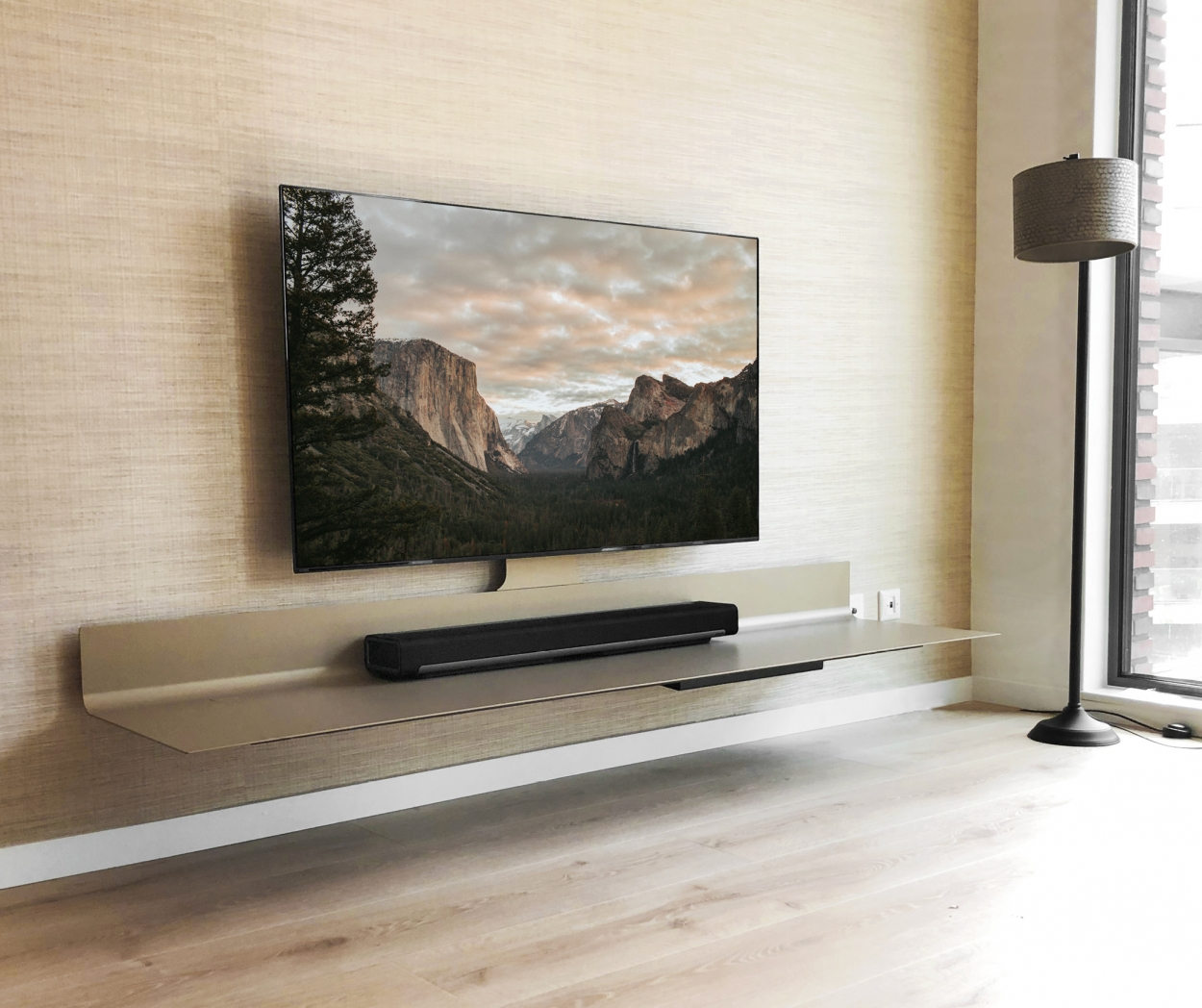 zwevend tv meubel Spectral Air Champagne Sonos Playbar